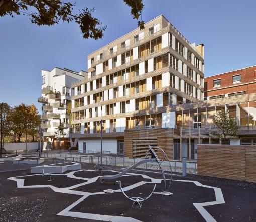 Logements sociaux et crèche, rue Rebière à Paris (75)