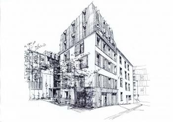 Construction d'un ensemble immobilier de 15 logements sociaux et espaces de commerces rue de Thionville à Paris (75)
